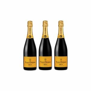 Veuve Clicquot Brut Yellow Label Champagne French Sparkling Wine - 3 Bottles