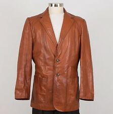 EUROPA Sport Men's Vintage Leather Blazer Jacket Size 44 Large L Brown