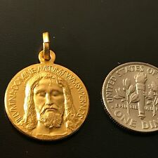 GOLD MEDAL over STERLING 925 HOLY FACE OF Jesus - Holy Shroud - Oviedo Sindone