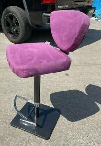 Modern Purple Suede Adjustable Bar Stool