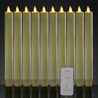 10PCS Luminara Battery Operated Led Taper Candles with Timer for Dinner Table