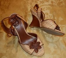 Womens FIONI~BROWN WEDGE SANDALS~7 WIDE 7W NEW High Heel Open Toe Shoes
