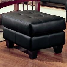 Samuel Black Bonded Leather Ottoman Footstool by Coaster 501684