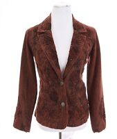 Coldwater Creek Womens Antique Embroidered Beaded Blazer Jacket Red Sz 4 Small