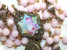 New Custom Rosary /Pink Pastel Flower Center /Durable Bow Connectors