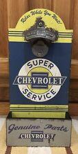 Chevrolet Bottle Opener On Wood Truck Car Gas Oil Garage Bar Pub Decor Chevy