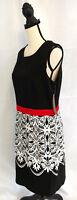 Voir Voir Sheath Dress Womens Size 10 L Black Red White Floral Sleeveless Career