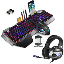 UK Wireless Keyboard Mice Mouse Pad Headset LED Backlit Rechargeable Game Keypad