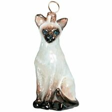 Joy To The World Siamese Oriental Cat Glass Polish Christmas Ornament Made i .