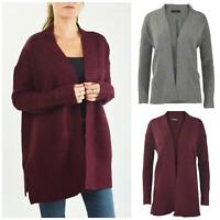 Womens Open Front Cardigan Ribbed Edges Chunky Knit Side Splits Burgundy Grey