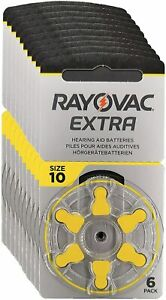 Rayovac Extra Advanced size 10 Hearing Aid Batteries 60 in Total YELLOW