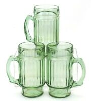 SET OF 3 VINTAGE 14 OZ GREEN GLASS BEER STEIN MUGS WITH HANDLES RIBBED