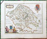 XVII ème- Duché du Valois Belle Carte par Willem Blaeu 60 x 50 cm Editée en 1635