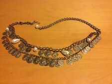 Vintage Custom Fashion Belt, Gold, 2 Rows With Gold Coin Charms On Both Rows