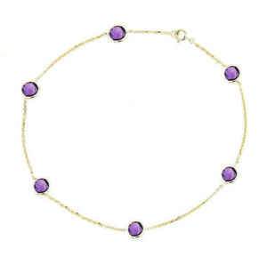 14K Yellow Gold Anklet Bracelet With Amethyst Gemstones 10 Inches