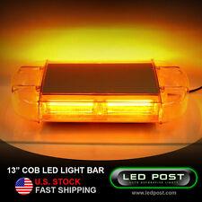 "13"" Amber COB LED Emergency Warning Hazard Security Strobe Light Bar Off Road"