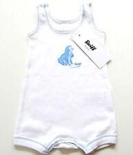 OA Spieler Gr.56 Steiff NEU weiß blau Body 100% Baumwolle Hund baby sommer