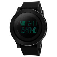 Black Mens Rubber Band Digital Army Date Day Alarm Quartz Sport Wrist watch New