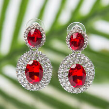 VINTAGE LOOK FACETED RED  OVAL ACRYLIC & DIAMANTE RHINESTONE CRYSTALS EARRINGS