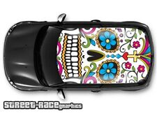 315 Car roof wrap printed sticker - Mini Sugar skull - will fit other cars