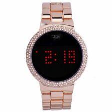 Men Women Rose Gold Digital Smart Touch Screen Hip Hop Watch Metal Bling CZ Ice