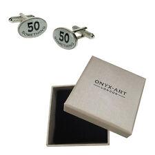 Mens 50Th Birthday Party Present Cufflinks & Gift Box By Onyx Art