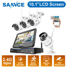 SANNCE 4CH WLAN IR Überwachungskamera NVR HD 10.1'' Monitor Funk IP Kamera HDMI