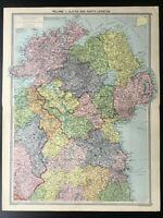 Antique Map Of Ireland Ulster Leinster Belfast Dublin Londonderry Cavan 1926