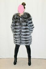 Silver Fox Fur Striped Coat Jacket Convertible Vest Stole Wrap Shawl Suede Saks