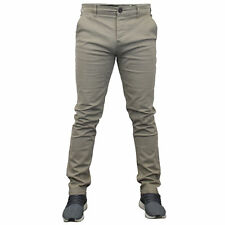 "Mens Chino Jeans Crosshatch Slim Fit Pants Straight Leg Trousers Bottoms Summer Stone - Chinor 34"" Short"