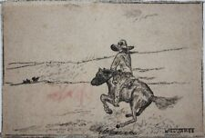 WILL JAMES-MT/CA Western Artist-Signed Ink Drawing-Cowboy on Horseback/ Desert