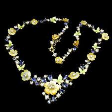 Collier 925 Sterling Silber, Gelbgold beschichtet, Perlmuttblumen & Tansanit Neu