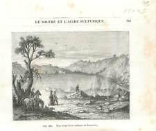 Émanations de soufre Solfatare de Pouzzoles golfe de Naples Italie GRAVURE 1877