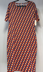 Lularoe Julia Dress Solid Red With Geo Shapes Tan  Blue Size XL