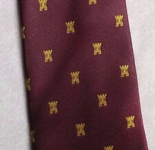 Crested Tie Vintage Rétro Hommes Cravate Bourgogne GOLD CASTLE par interlogo 1980 S