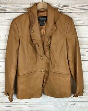 Terry Lewis M Beige Brown Ruffle Trim Leather Button Down Lined Jacket Coat a3