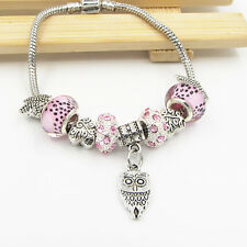 HOT SILVER MURANO Spacer Bead European Charm Bracelet GP10