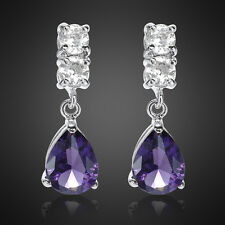 Xmas Gift Lady Pear Cut Purple Amethyst 18K White Gold Plated Gp Stud Earrings