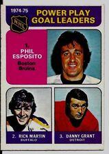 PHIL ESPOSITO 1975-76 O-PEE-CHEE OPC #212 Power Play Leaders NICE! EX++/ EXMT