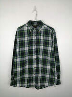 VINTAGE MENS FLANNEL SHIRT FADED GLORY SIZE M GREEN BLUE CHECK LONG SLEEVE TOP