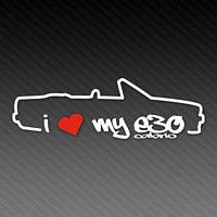 BMW I Love My E30 Cabrio Sticker 20cm x 8cm Silhouette M3 Tuning EDM