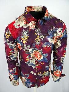 Purple Shirt Floral Print Mens Slim Fit Designer Fashion Button Up Gold Foil 212