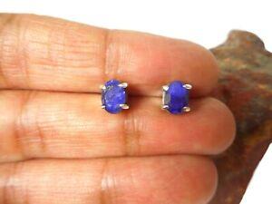 Oval Blue SAPPHIRE  Sterling  Silver  925  Gemstone  Stud Earrings  -  5 x 7 mm