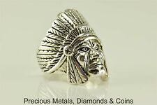 Vintage Men`s Heavy Silver Plated G & S 85 Indian Chief Headdress Ring Sz: 12