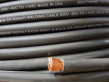 2/0 EXCELENE WELDING BATTERY CABLE BLACK 600V USA 105c EPDM JACKET 100' ft