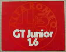 ALFA ROMEO GT JUNIOR 1.6 Car Sales Brochure 1973 #731B127