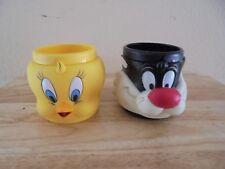 Vintage Looney Tunes Tweety and Sylvester Plastic Mugs
