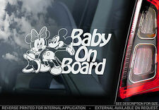 Baby On Board - Car Sticker - Mickey & Minnie Mouse -PERSONALISE: Kids, Name etc