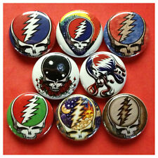 "GRATEFUL DEAD 1"" buttons badges JERRY GARCIA DEADHEAD DEAD HEAD STEAL YOUR FACE"
