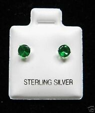 Round 4mm Emerald Cubic Zirconia May Birthstone Sterling Silver Stud Earrings